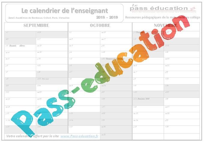 Calendrier De L Enseignant 2018 2019 Zone A B C
