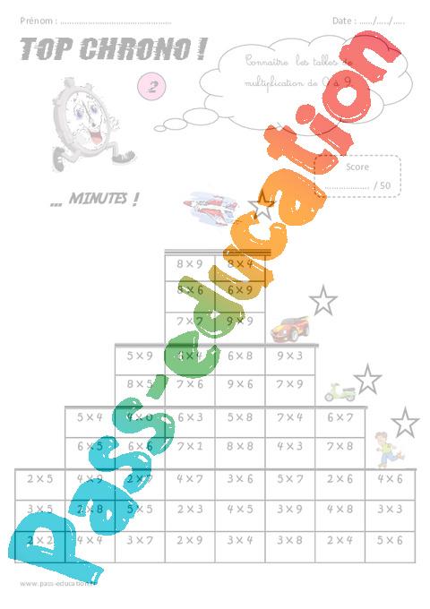 Cm2 calcul mental top chrono rituel pass education for Connaitre ses tables de multiplication