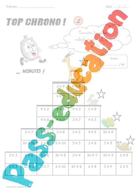 Ce2 calcul mental top chrono rituel pass education for Table de 4 et 5