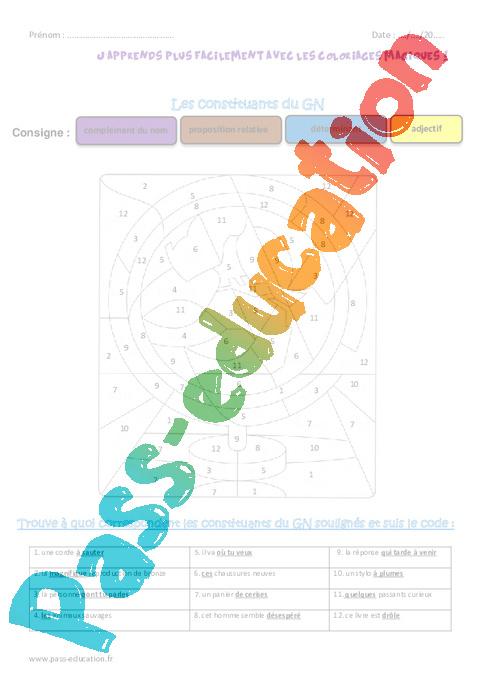 Constituants Du Groupe Nominal Gn Cm1 Coloriage Magique