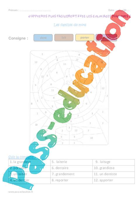 Coloriage Famille Magique.Famille De Mots Ce1 Coloriage Magique Pass Education