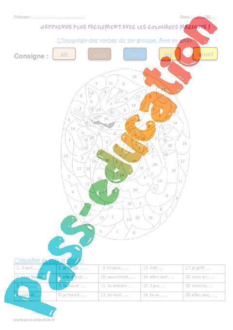 Imparfait des verbes du 1er groupe tre et avoir ce1 coloriage magique pass education - Coloriage magique imparfait ...