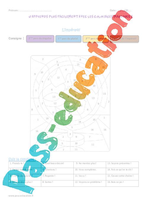 Imp ratif cm2 coloriage magique pass education - Coloriage magique cm2 francais ...