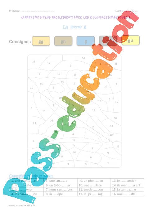 La lettre g ce1 coloriage magique pass education - Coloriage magique lettre a ...