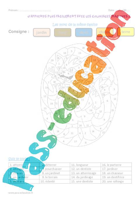 Coloriage Famille Magique.Mots De La Meme Famille Ce2 Coloriage Magique Pass Education