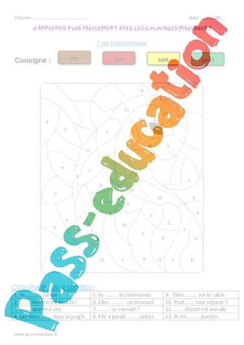 Coloriage Magique M Devant M B P.On Ont Et Son Sont Homonymes Ce1 Coloriage Magique Pass