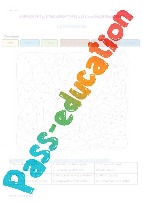 Coloriage Magique Unites De Mesure.Ponctuation Ce1 Coloriage Magique Pass Education