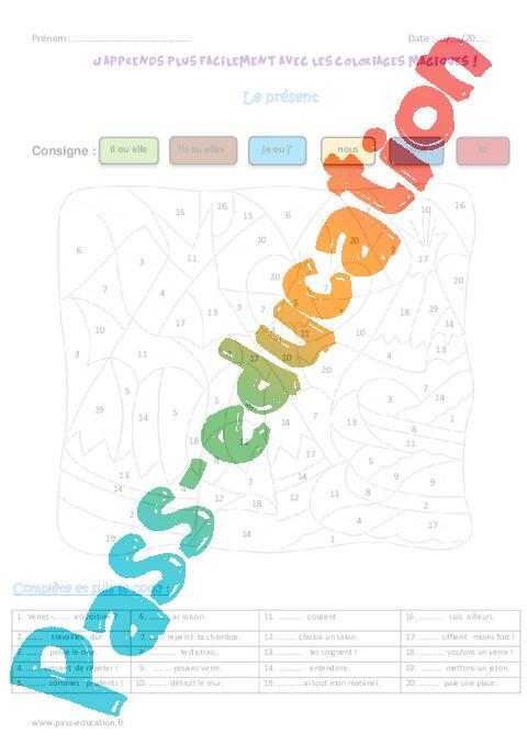 Coloriage Magique Cm.Present Cm2 Coloriage Magique Pass Education