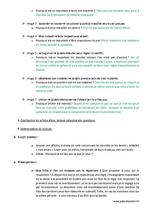 Droits et devoirs en classe cm1 cm2 fiche de pr paration pass education - Les droits et les devoirs ...