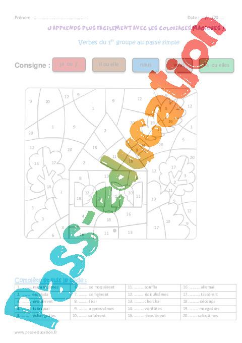 Coloriage Magique Passe Simple.Verbes Du 1er Groupe Au Passe Simple Cm1 Coloriage Magique