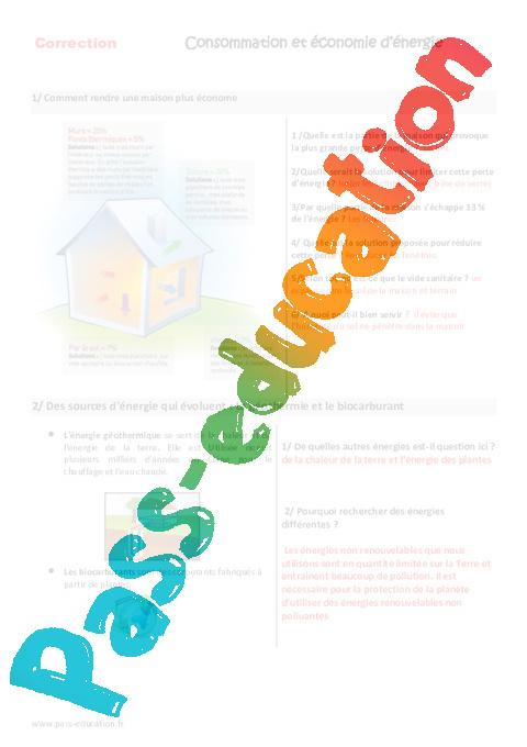 consommation et conomie d nergie cm1 cm2 exercices pass education. Black Bedroom Furniture Sets. Home Design Ideas