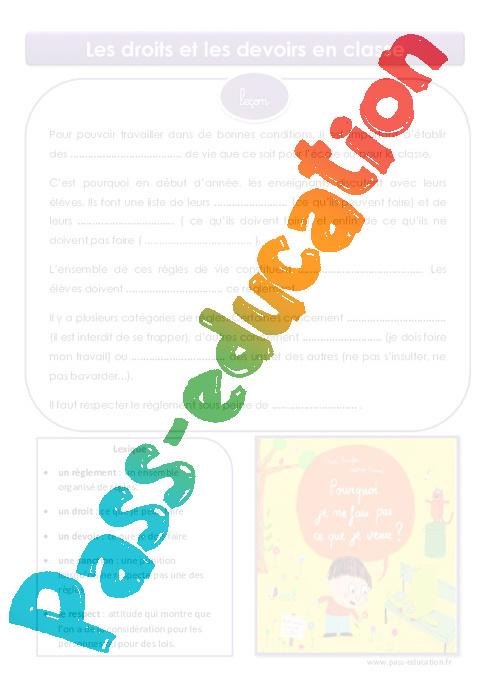 Droits et devoirs en classe cm1 cm2 le on pass education - Droit et devoir du locataire ...