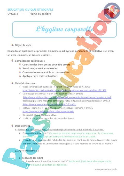 Hygiène Corporelle Cp Ce1 Ce2 Fiche De Préparation