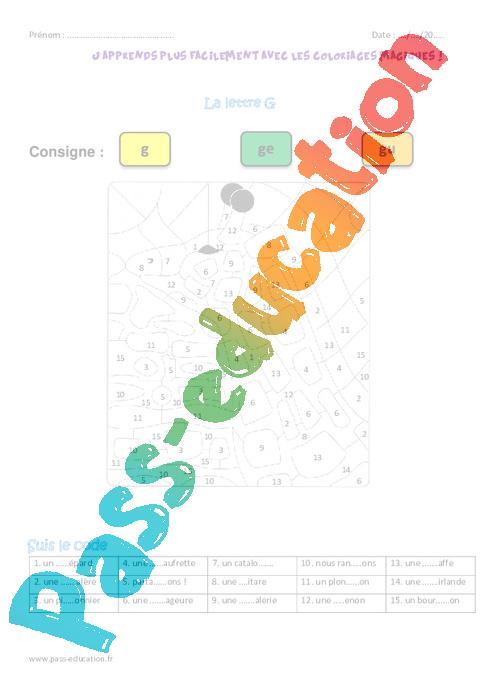 Lettre g ce2 coloriage magique pass education - Coloriage magique lettre a ...