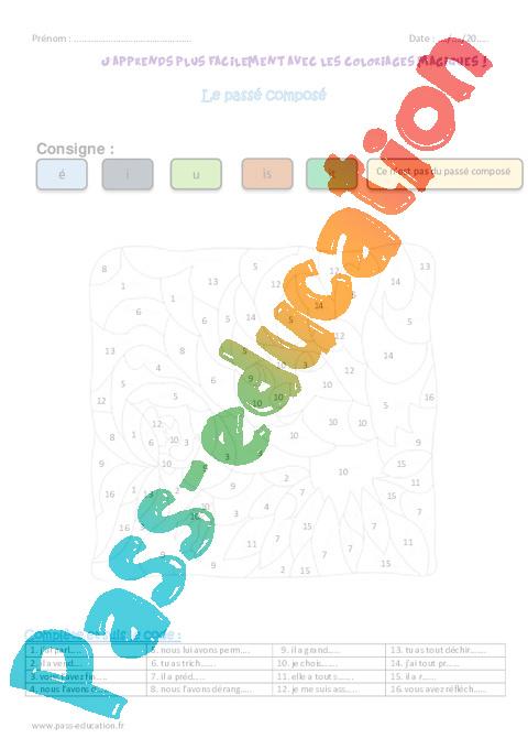 Passe Compose Ce2 Coloriage Magique Pass Education