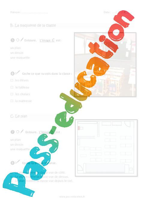 se rep rer dans la classe et lire un plan ce1 exercices pass education. Black Bedroom Furniture Sets. Home Design Ideas