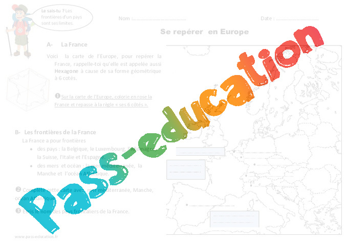 Carte Europe Ce1.Se Reperer En Europe Ce1 Exercices Pass Education