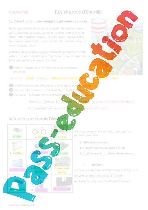 sources d nergie cm1 cm2 exercices pass education. Black Bedroom Furniture Sets. Home Design Ideas