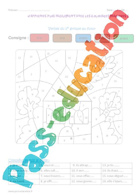 Verbes Du 1er Groupe Au Futur Ce2 Coloriage Magique Pass Education