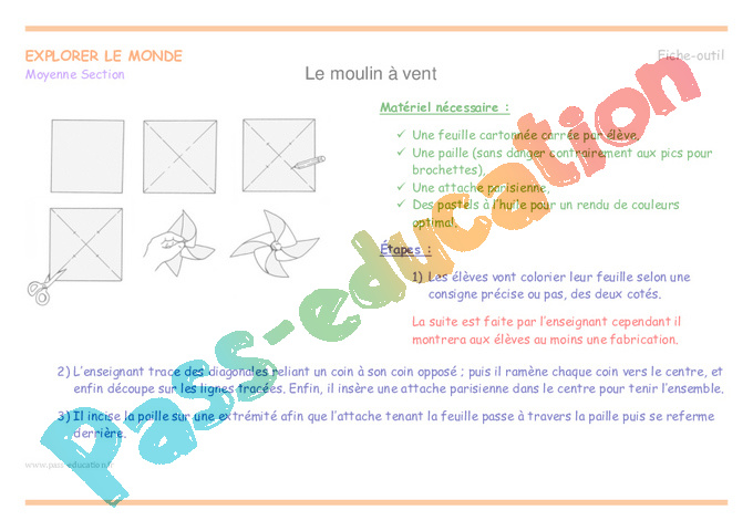 moulin à vent - moyenne section - plan de séquence - pass education
