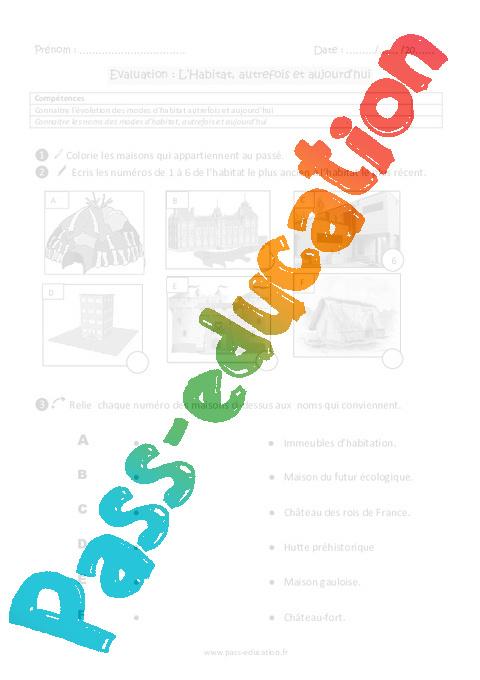 habitat autrefois et aujourd hui ce1 evaluation pass education. Black Bedroom Furniture Sets. Home Design Ideas