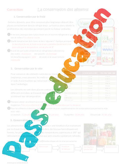 conservation des aliments cm1 cm2 exercices pass education. Black Bedroom Furniture Sets. Home Design Ideas