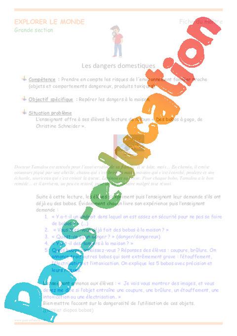 Dangers Domestiques  Grande Section  Fiche De Prep  Pass Education