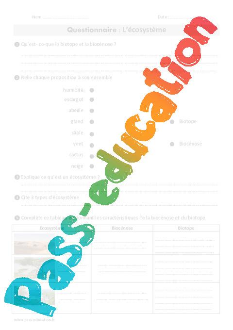 Ecosystème - Cm1 - Cm2 - Exercices - Pass Education