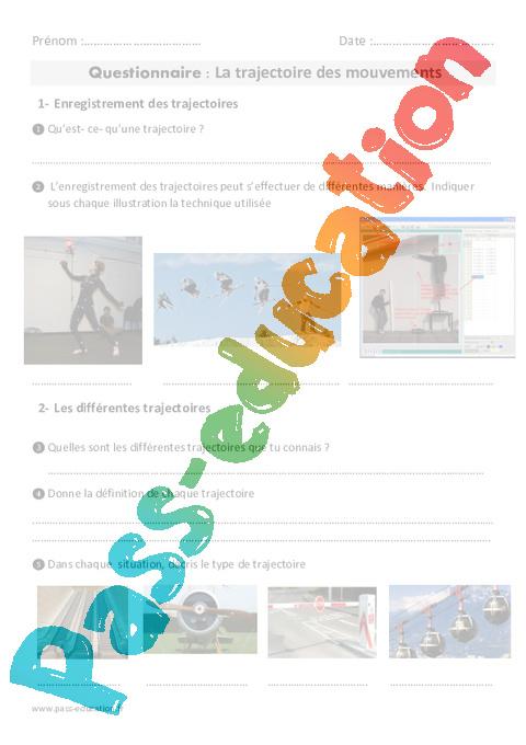 Trajectoire des mouvements - Cm1 - Cm2 - Exercices - Pass ...
