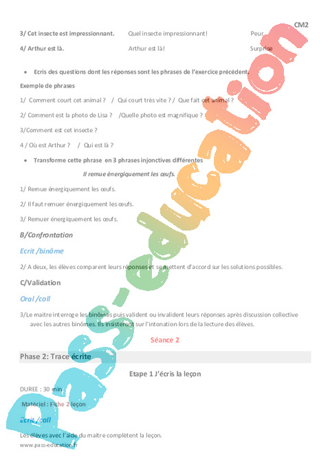 Types de phrases cm2 fiche de pr paration pass education for Les types de combustion