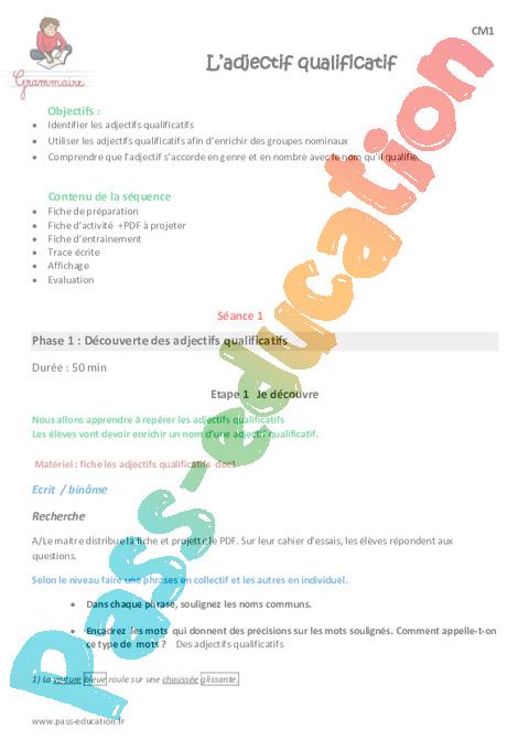 Liste des adjectifs PDF