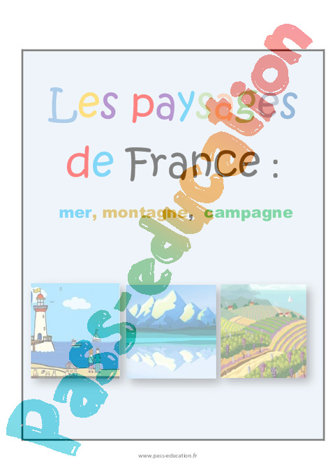 Berühmt Types de paysages en France - CP - Fiche de prep - Pass Education PE26