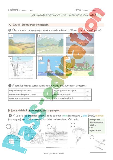 Types de paysages en france ce1 fiche de prep pass for Paysage francais