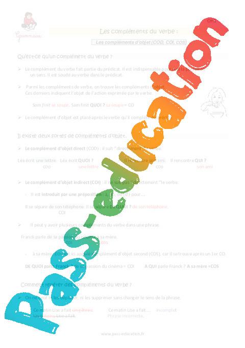 Compléments du verbe - Cm1 - Leçon - Pass Education