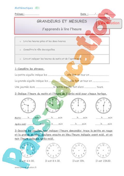 Lire l'heure - Ce1 - Fiche de préparation - Pass Education
