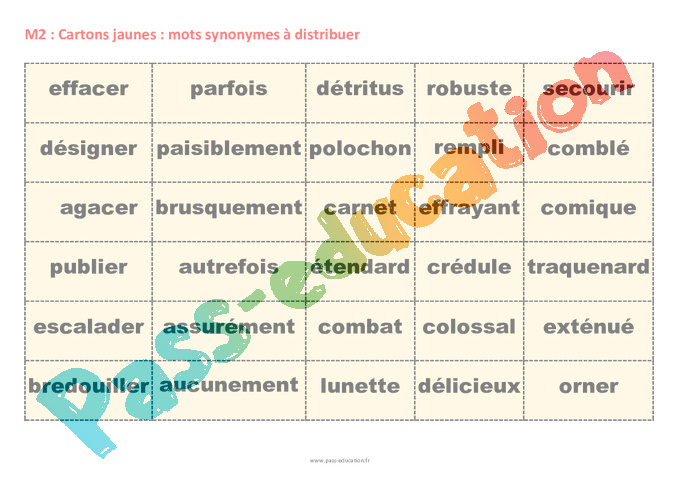 Synonymes cm1 fiche de pr paration pass education for Synonyme construction