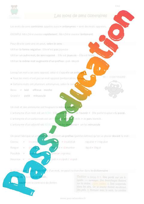 Mots de sens contraire - Cm1 - Leçon - Pass Education