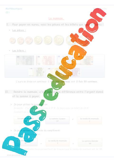 Bekannt Monnaie - Ce1 - Leçon à imprimer - Pass Education ZL71