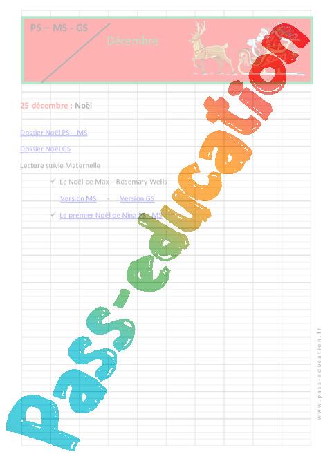 Calendrier Pedagogique.Calendrier Pedagogique Pour La Maternelle Noel Decembre