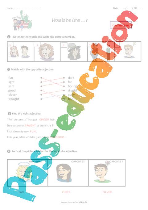 Physical Description Cm1 Anglais Famille Vadrouille
