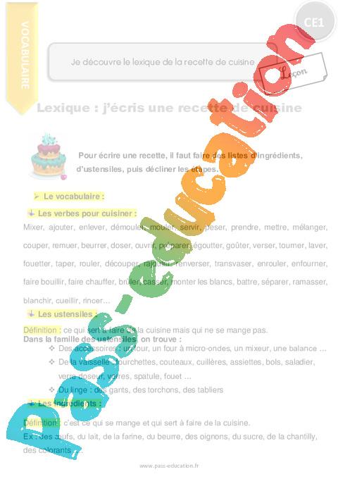 Je découvre le lexique de la recette de cuisine - CE1 - Leçon - P on