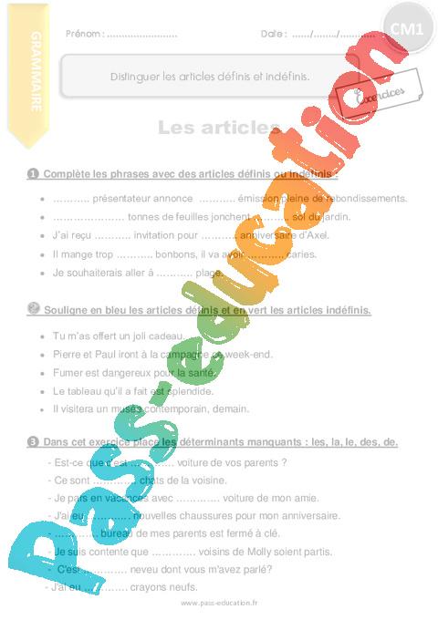 Distinguer les articles définis et indéfinis - CM1- Exercices à imprimer - Pass Education
