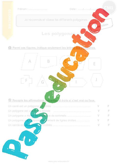 Je reconnais et classe les différents polygones - CM1 - Exercices avec correction - Pass Education