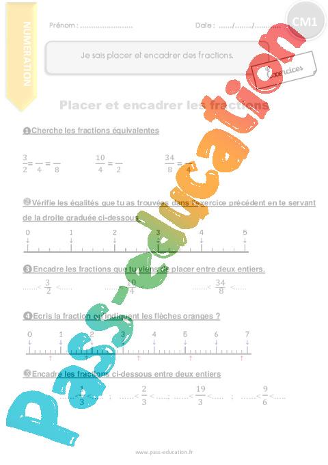 Je sais placer et encadrer des fractions - CM1 - Exercices ...