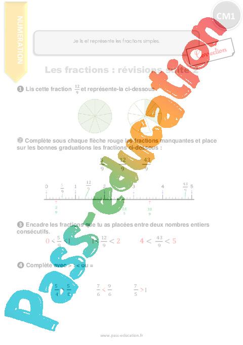 Je lis et représente les fractions simples Suite - CM1 ...