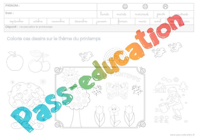 Coloriage Printemps Grande Section.Coloriage Sur Le Theme Printemps Gs Grande Section Pass