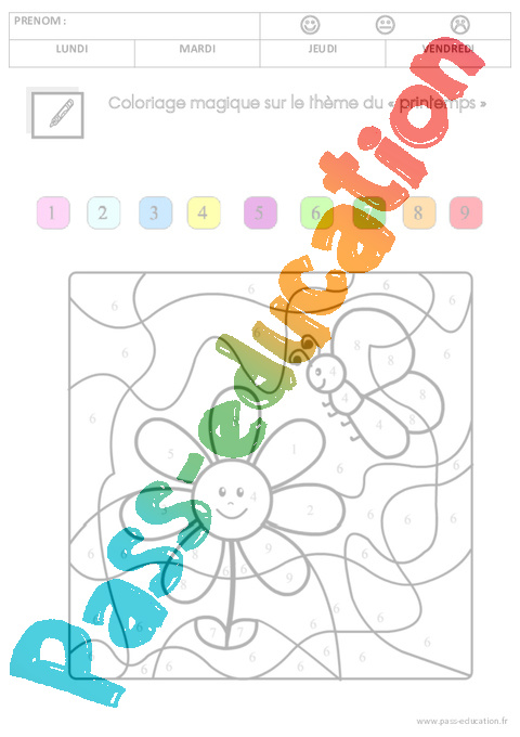 Coloriage Magique Printemps Gs.Mathematiques Printemps Gs Grande Section Pass Education