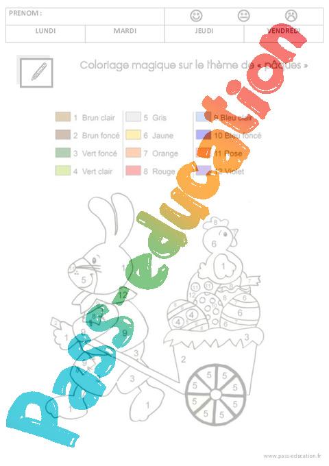 Coloriage Magique De Paques Gs.Mathematiques Paques Gs Grande Section Pass Education