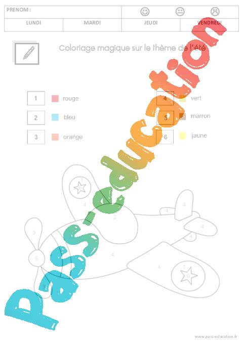Coloriage Magique Ete Ms Moyenne Section Pass Education