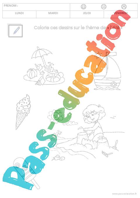 Coloriage Sur Le Theme De L Ete Ms Moyenne Section Pass